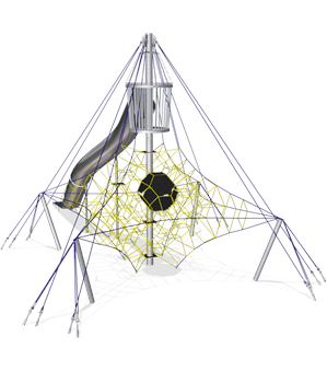 LARGE OCTA NET WITH CROWS NEST AND STAINLESS STEEL TUNNEL SLIDE