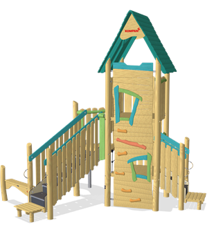 MULTI DECK PLAY TOWER WITH BANISTER BARS ADA