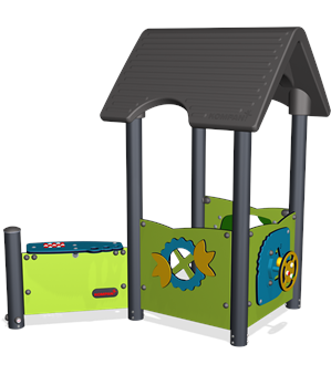 PLAYHOUSE WITH OUTSIDE DESK, STEEL POSTS