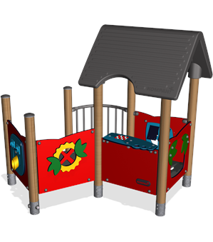 PLAYHOUSE WITH BALCONY, WOOD POSTS